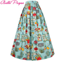 Belle Poque 2017 Vestido Women Pinup Vintage Skirts Rockabilly 50s Skirt Autumn Floral Print Pleated High