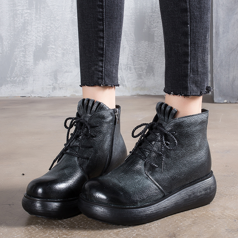 Latest Winter Fringe Warm Boots Female 2018 Ladies Long Plush Booties Lace-Up Design Platform Real Leather Vintage Women Shoes vintage engraving and fringe design women s satchel