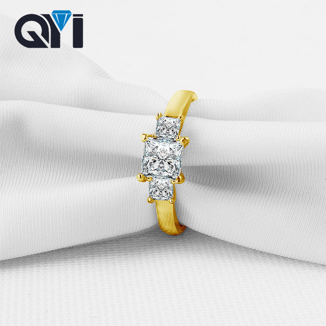 QYI Princess Cut Sona Simulated Diamond Engagement Rings Women Three Stone Wedding 14K Solid Yellow Gold Rings