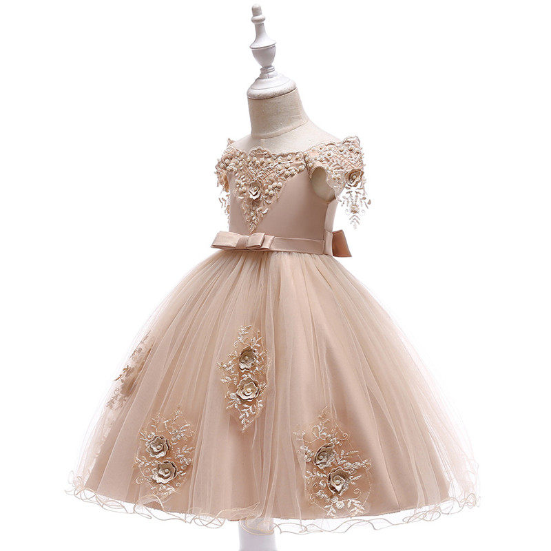 Embroidered Pearl Flower Girls Dress Kids Princess Wedding Prom Designs Ball Gown Teenager Evening Dresses For Girl Clothes (3)