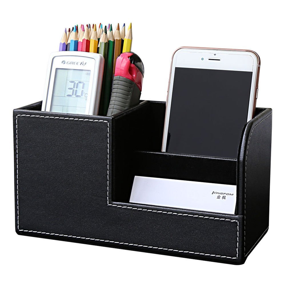 PU Leather Desk Stationery Box Organizer, Office Desktop Organizer With 3 Divided Storage Compartments For Storing Pen/ Remote
