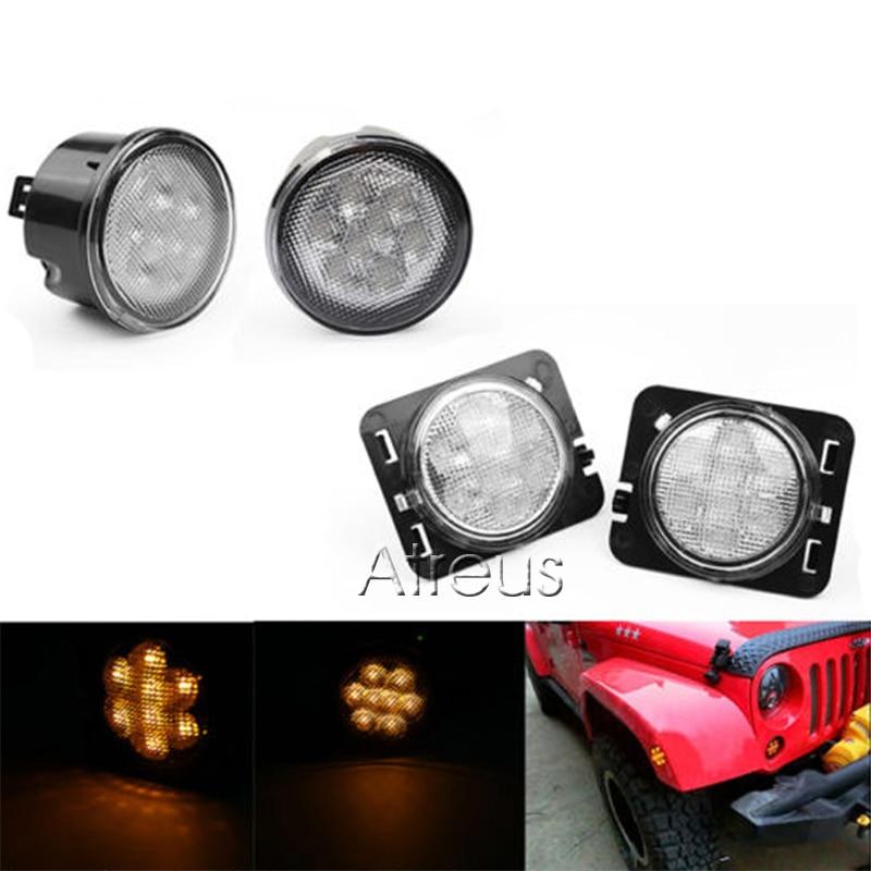 Jeep Wrangler JK 2007-2015 üçün kəhrəba aksesuarları LED yan - Avtomobil işıqları - Fotoqrafiya 6