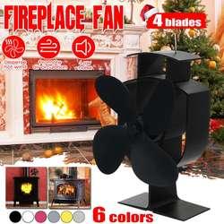 Hogar 4 hojas de estufa de alimentación térmica ventilador de leña quemador de madera respetuoso con el medio ambiente silencioso ventilador para hogar distribución de calor ahorro de combustible