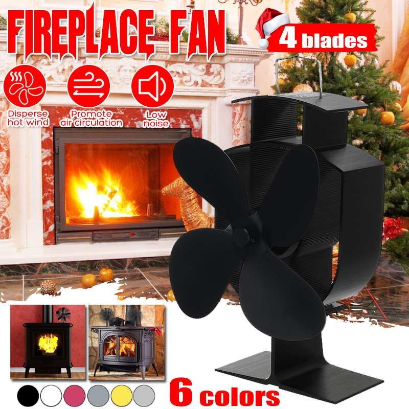 Household 4 Blade Heat Powered Stove Fan Log Wood Burner Eco Friendly Quiet Home Fireplace Fan Heat Distribution Fuel Saving
