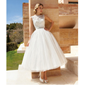 Custom Made Vestido De Noiva White/Ivory Tulle Applique Sash A-Line Lace Short Wedding Dress Vestido De Casamento