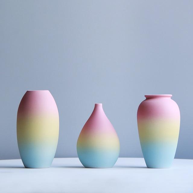 Modern Rainbow Prints Vase Colorful Ceramic Flower Vase 6 Design Desktop Mini Vase Home Decorative Centerpiece 4