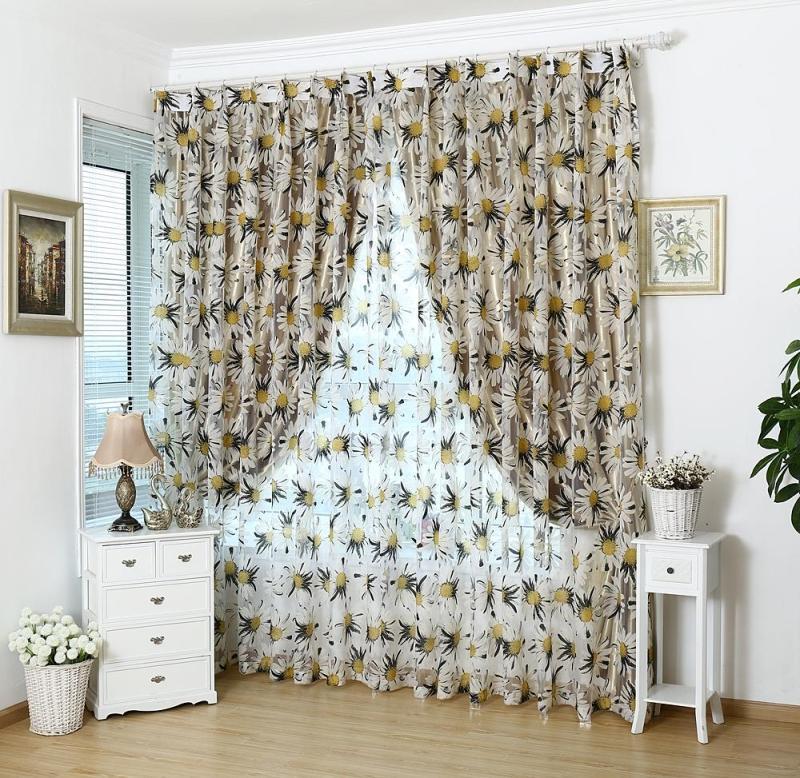 US $20.0 |Promozione floreale tulle in tende trasparenti per soggiorno  camera da letto cucina ombra trattamento di finestra tende tenda pannello  in ...