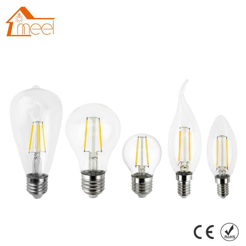 Bom E27 E14 Antigo Edison Lâmpada LED 220V Retro Luz Filamento LEVOU Bulbo De Vidro Da Lâmpada Do Vintage LEVOU 4W 8W 12W 16W Lâmpada Da Luz Da Vela