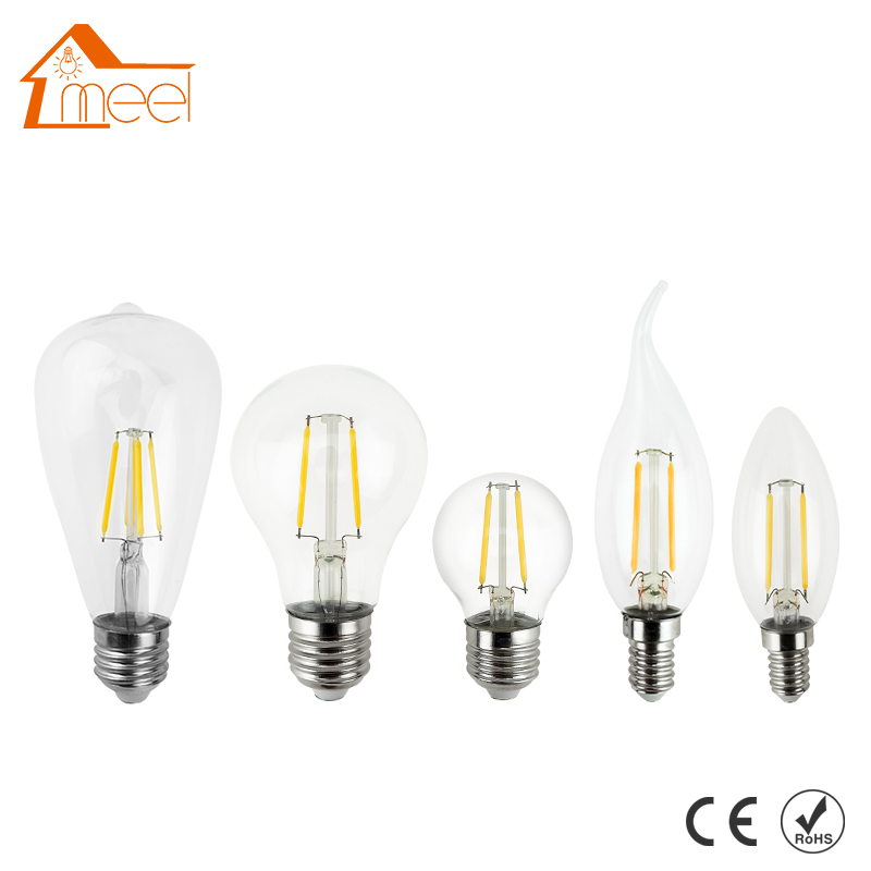 Good E27 E14 Antique LED Edison Bulb 220V Retro LED Filament Light Vintage LED Glass Bulb Lamp 4W 8W 12W 16W Candle Light Lamp lumiparty antique light bulb classical edison bulb e27 8w filament tubular nostalgic filament incandescent home lamp