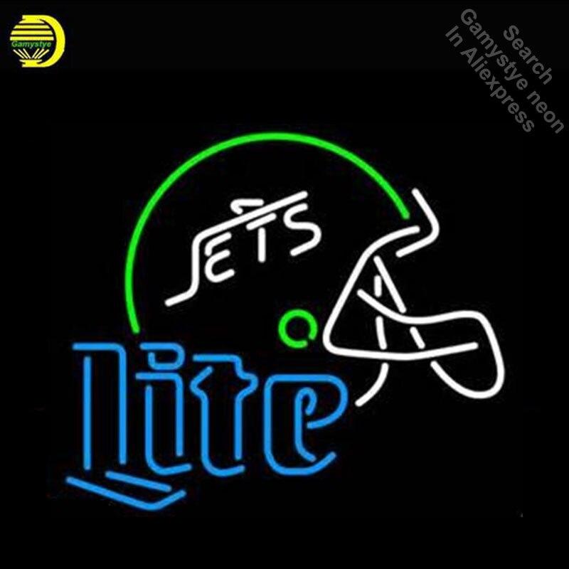 Спортивных команд NYJs Lite логотип неоновые вывески ручной работы неоновый лампы знак Стекло трубки знаковых знаки для дома Профессиональный ...