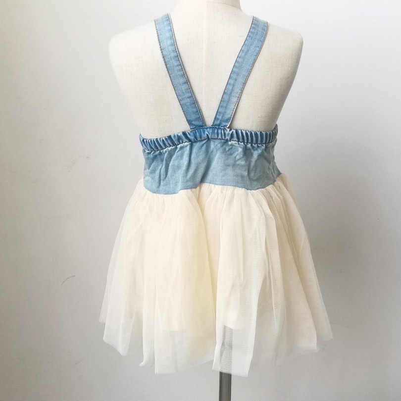 724e52af055 ... Baby Summer Dress Tutu Lace Denim Patch Children Party Frock Baby Girls  Sundress Kids Princess Party ...