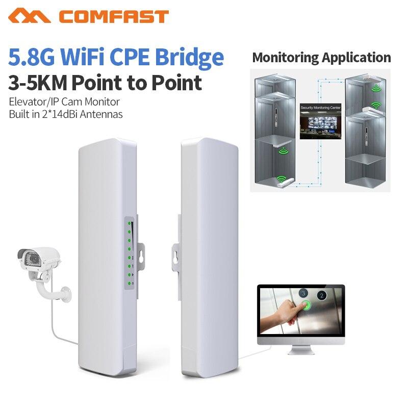 2pcs 5 CF-E312AV2 23dBm Alta Potência Comfast Wi-fi Repetidor Ao Ar Livre 300 GHz 150mbps Sem Fio Wi-fi Router AP Extender Ponte estação de nano