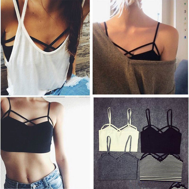 2018 New Fashion Sexy Women Strappy Padded Bra Bustier Bra Bralette Corset Crop Tops Tank Top Blouse Black White Cheap Z1