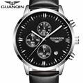 relogio masculino GUANQIN Mens Watches Top Brand Luxury Chronograph Luminous Clock Fashion Men Sport Casual Leather Quartz Watch