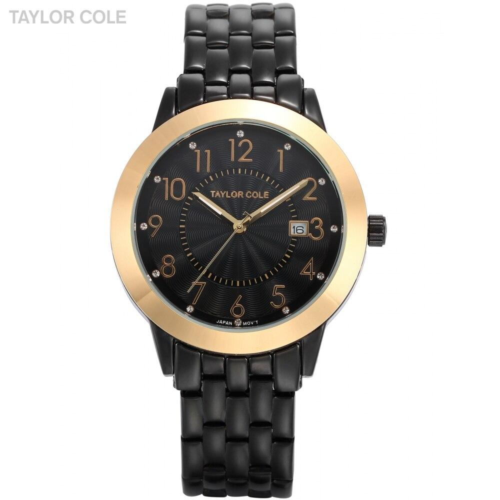 Taylor Cole Luxury Brand Women Dress Black Relogio Auto Date White Dial Bracelet Clock Lady Fashion Quartz Hodinky Women / TC032 taylor cole relogios tc016