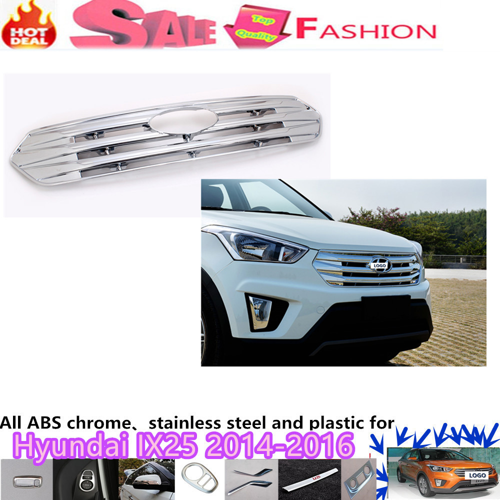 Free shipping Car body cover detector ABS chrome trim Front up Grid Grill Grille Around 1pcs for Hyundai IX25 2014 2015 2016 abs chrome front grille around trim racing grills trim for 2013 hyundai santa fe ix45