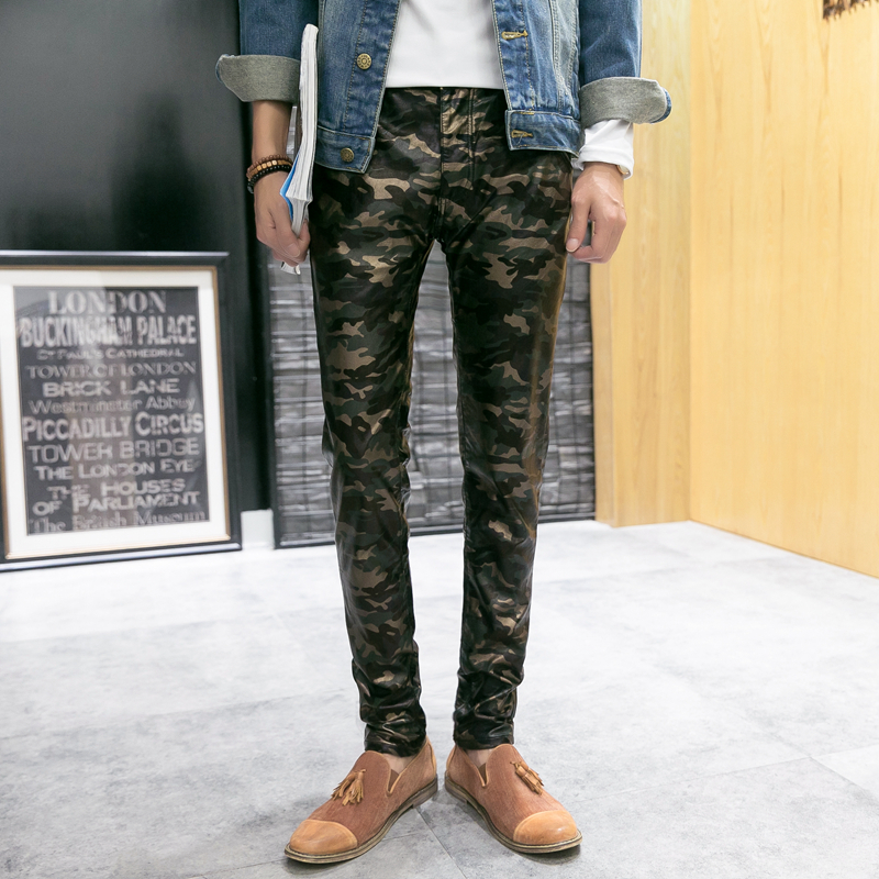 New Arrived Personality Men's Leather Pants Casual Skinny PU Joggers Trouser Male Camouflage Cargo Pants
