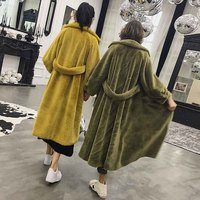 TXJRH Stylish Hairy Shaggy Faux Mink Fur Long Jacket Lapel Pockets Outwear 2019 Keep Warm Coat Oversize Style Tops 4 Colors