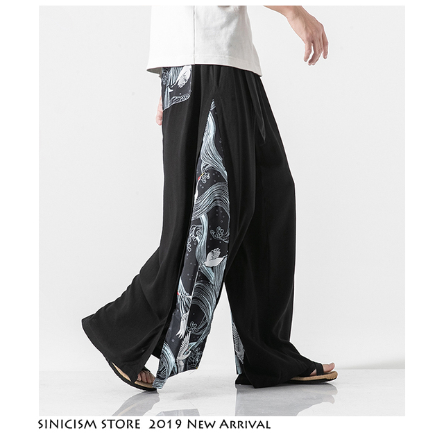 Sinicism Store 2020 Summer Chinese Style Cotton Pants Mens Patchwork Vintage Loose Pants Male Wide Leg Pants 13
