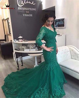 Mermaid 3 4 Sleeve Green Lace Sexy Elegant Women 2018 New Fashion Evening Dresses Prom Party