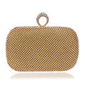 New Finger Ring Metal Day Clutches Handbags Silver/Gold/Black Chain Shoulder Messenger Bag For Party Evening Bags