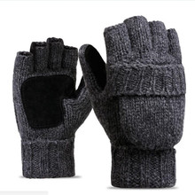 Men's Thinsulate Thick Wool Knitted Half Mitten Suede Palm Gloves Warm Outdoor Riding Gloves