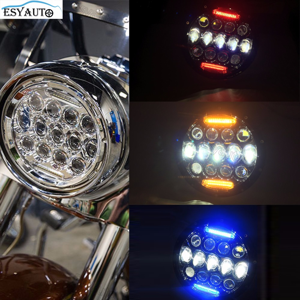 7 Inch LED Headlight with Red/Amber/Blue DRL Moto Auto Headlamp 75W Daymaker Projector for Harley Davidson for Jeep Wrangler
