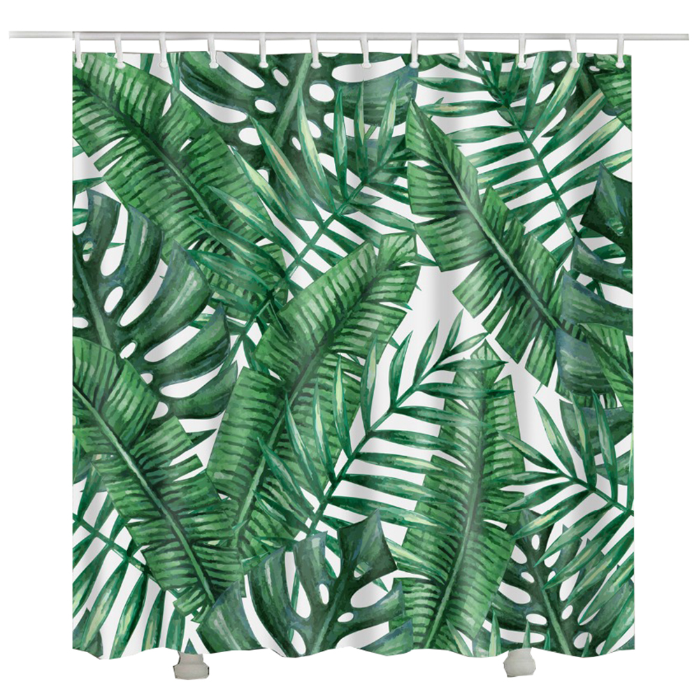 Tropical fabric shower curtain rideau de douche vert - Rideau de douche polyester ...