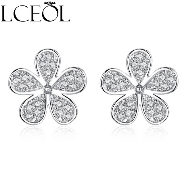 Lceol Small Simple Cute Flower Stud Earrings White Gold Color Marquise Cut 5pcs Cz Crystal For