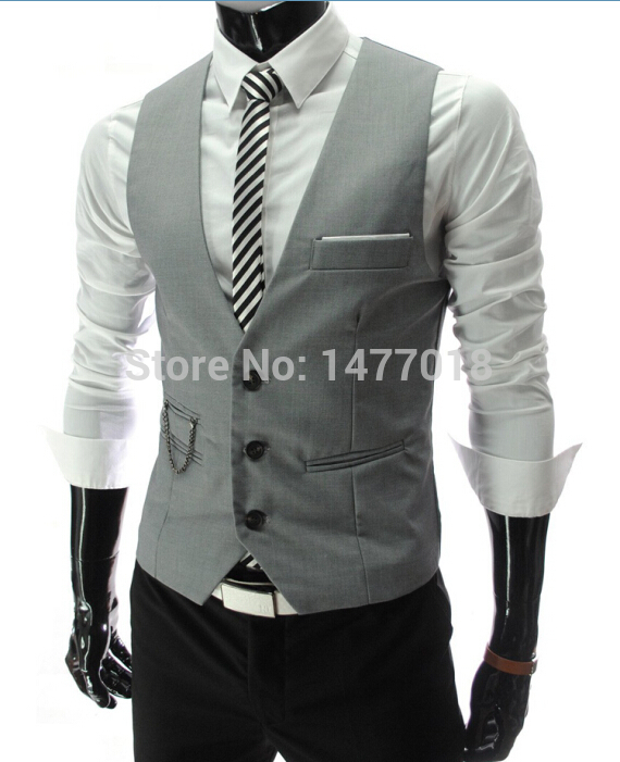 New Arrival Dress Vests For Men Slim Fit Mens Suit Vest Male Waistcoat Gilet Homme Casual Sleeveless Formal Business Jacket #4