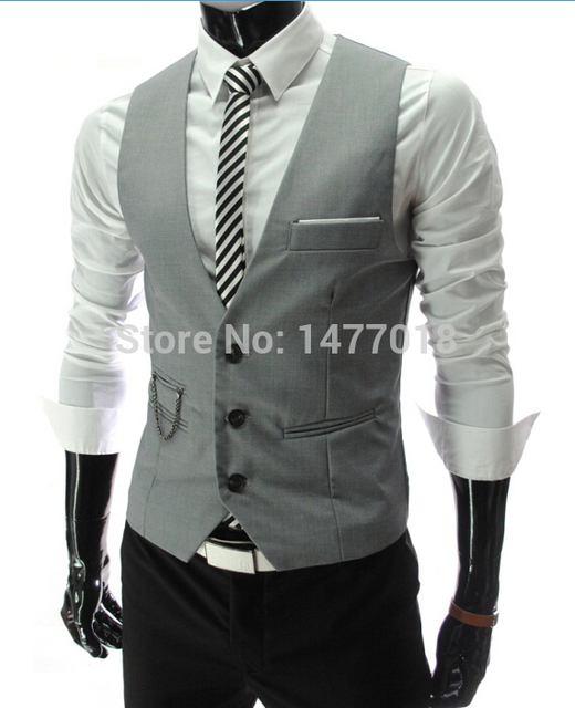 2019 New Arrival Dress Vests For Men Slim Fit Mens Suit Vest Male Waistcoat Gilet Homme Casual Sleeveless Formal Business Jacket 3