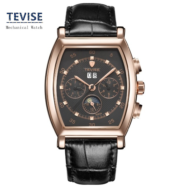 Men's Original Brand Mechanical Automatic Self-Wind Watch Fashion Leather Strap Men Business Watch 3 Needles Gift Watches A037 automatic self wind men business fashion simple watches sapphire mirror black stainless steel strap blue dial mechanical clock