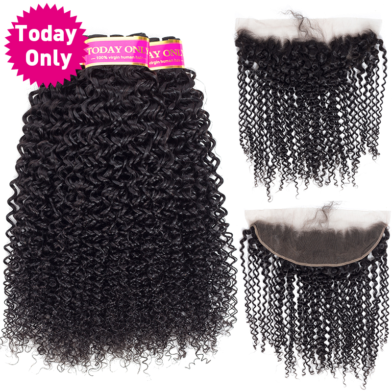[TODAY ONLY] 3 Bundles With Frontal Brazilian Hair Weave Bundles With Closure Kinky Curly Weave Human Hair Bundles With Frontal