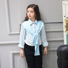 2016 Autumn Teen Girls Blue Pink Striped Knot Blouse for Cute Tops Korean Style for Age 56789 10 11 12 13 14 Years Old Kids Top