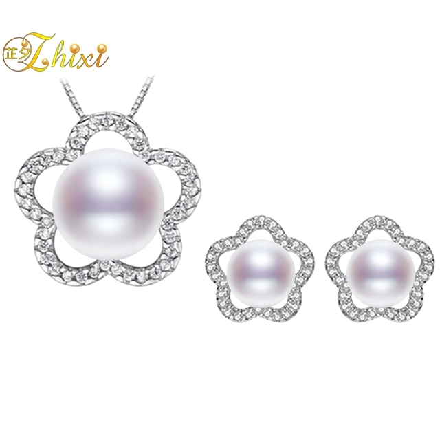 5f5cb843c99 ZHIXI Natural Pearl Jewelry Sets Fine Jewelry Real Freshwater Pearl  Necklace Pendant Earrings For Women Trendy Wedding Gift ST16