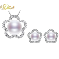 ZHIXI Natural Pearl Jewelry Sets Fine Jewelry Real Freshwater Pearl Necklace Pendant Earrings For Women Trendy