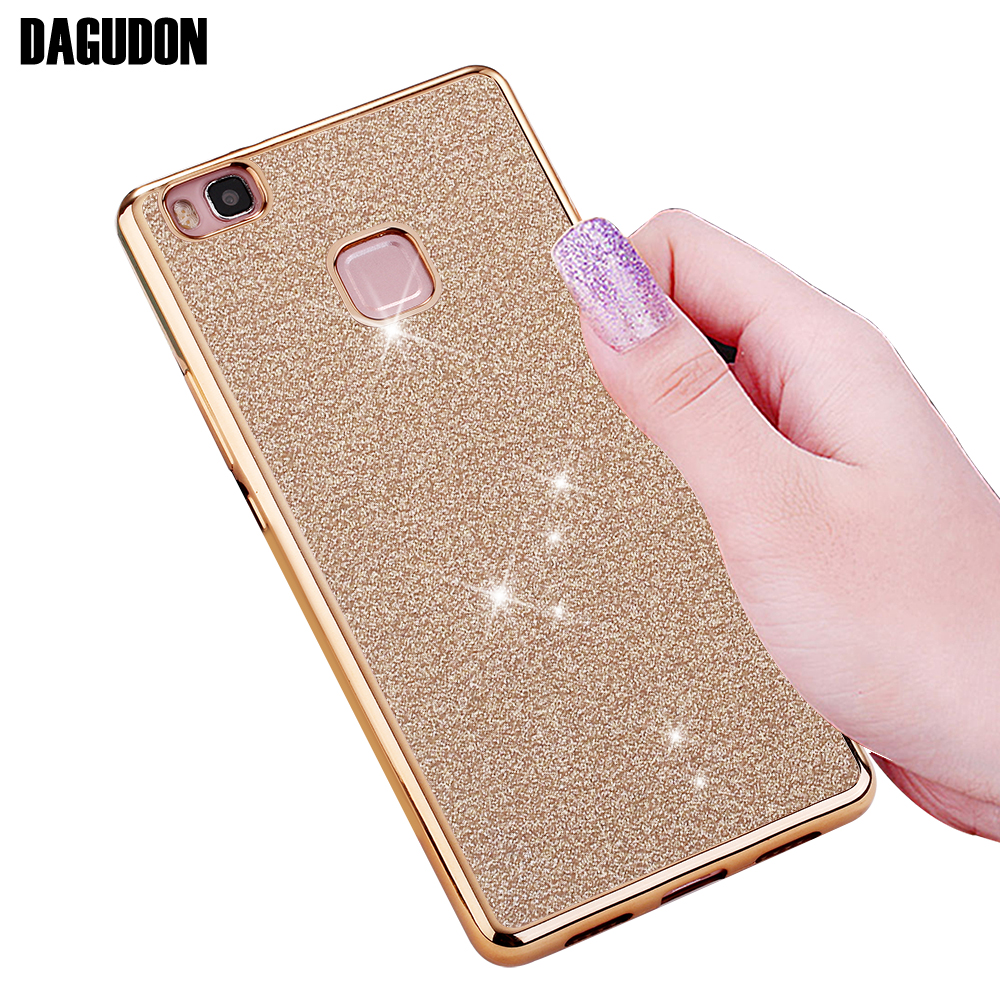 DAGUDON Glitter Case For Huawei P9 lite 2016 Luxury Gold Transparent cute silicone bling Cover For huawei P9 Lite Phone cases