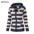 Vancol 2016 Autumn European Harajuku Slim Female Hooded Sweater Coat Striped Long Sleeve Blue White Women Hoodies Sweatshirts