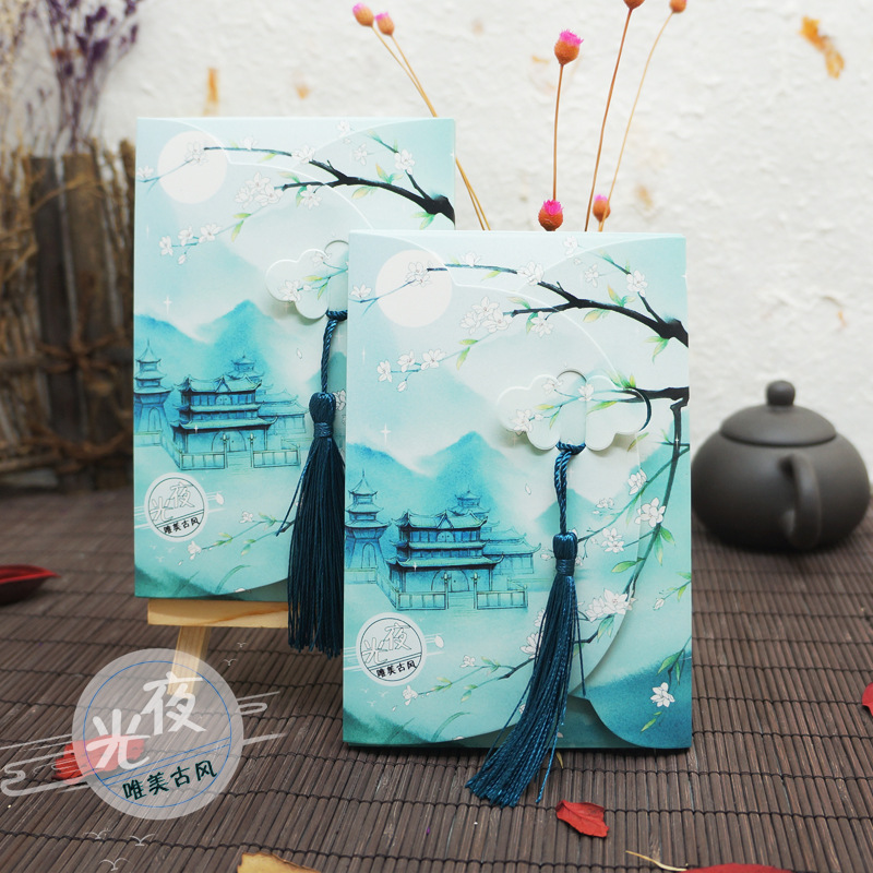16 Sheets/Set Flower And Moon Series Luminous Postcard With Small Tassel/Greeting Card/Message Card/Birthday  Gift Card