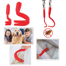 2Pcs/set Hook Orange Red Plastic Portable Hook Tick Twister Remover Hook Horse Human Cat Dog Pet Supplies Tick Remover Tool(China)