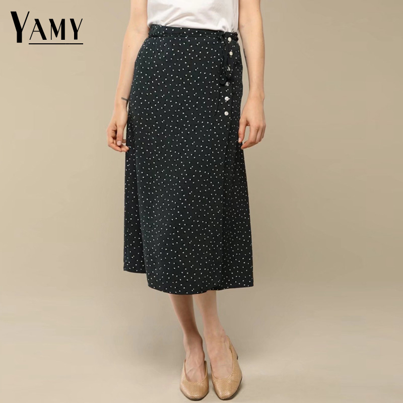 2018 spring bohemian boho skirts womens slim high waist polka dot print black midi skirt elegant korean fashion streetwear