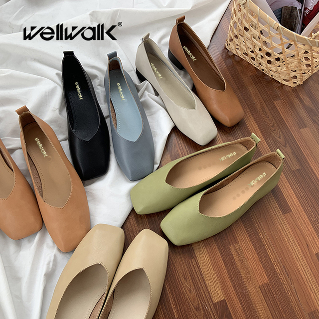 Wellwalk Flat Korean Shoes Women Square Toe Ballerinas Ladies Leather PU Loafers Female Spring Shoes Foldable Moccasins Simple
