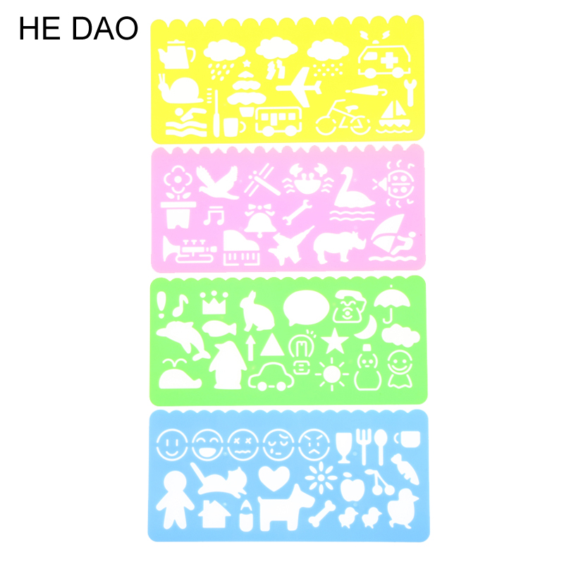 4 PCS Cute Art Graphics Symbols Drawing Template Stationery Candy Color Ruler Student Kids Drafting Stencil Ruler Stationery
