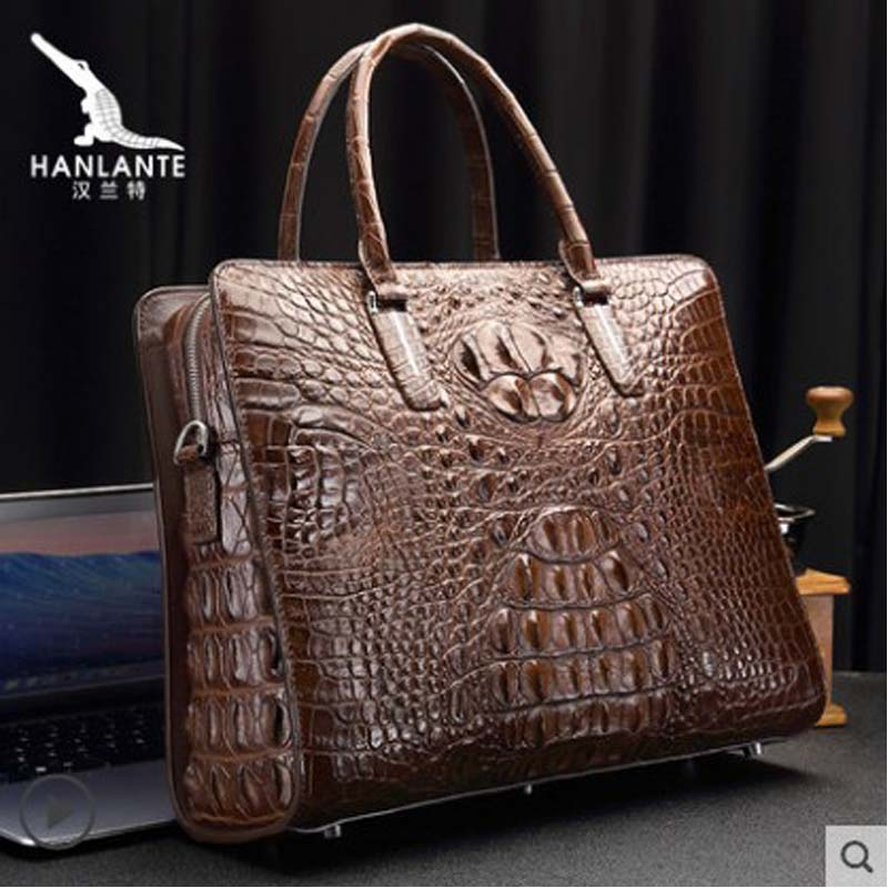 Hanlante Thailand  Crocodile Handbag Man's Genuine Leather Bag Luxury Man's Bag High-end Man's Briefcase