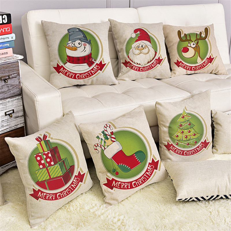 Christmas Xmas Linen Cushion Cover Throw Pillow Case Home: Wholesale Cute Christmas Series Pattern Cushion Cover