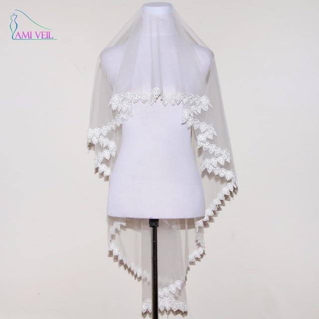 New Arrival One Tiered Elegant Lace Wedding Veil White Veu De Noiva   Meters Cheap Bridal