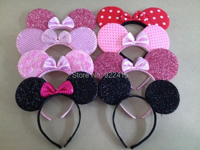 10 pcs kid's hair accessories Minnie Mouse Ears headband pink red bow headwear for Boys and Girls Birthday Party or Celebrations sequin bow minnie mouse ears headband for kids shiny glitter hair bow hairbands girls photography props hair accessories