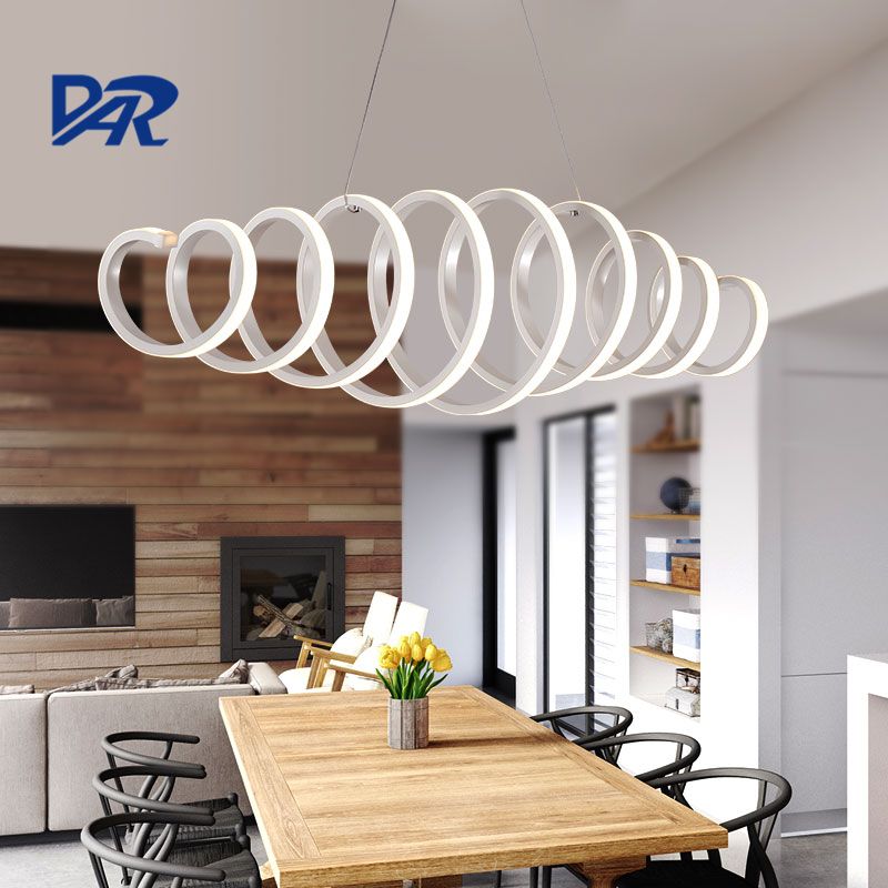 Creative white acrylic spring pendant lamp dining room for Lustre 3 suspensions