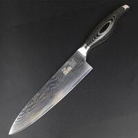 HAOYE 8 inch damascus chef knife kitchen cooking knife vg10 steel sharp full tang slicing antiskid PakkaWood handle
