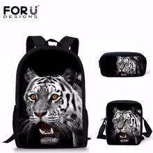 9b8c58a61454e FORUDESIGNS Mode Kinder Schule Taschen 3D Tier Tiger Druck Große Kapazität  Rucksack für Jungen Casual Kinder